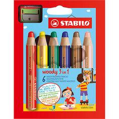 Набор цветных карандашей Stabilo Woody,6цв+точилка, картон