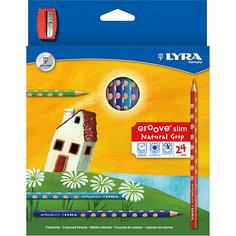 Цветные карандаши GROOVE с эргономичными выемками, 24 цвета Lyra