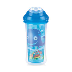"""Поильник с силиконовым носиком-непроливайкой """"Морской мир"""", Nuby, синий"""