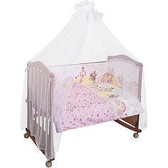 Комплект в кроватку 7 предметов Сонный гномик, Золушка, розовый