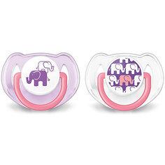 Соска-пустышка 6-18 мес, 2 шт, «Дизайн», Philips Avent, фиолетовый/белый