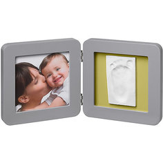 Фоторамка двойная, Baby Art, серый, подложка коралловая/бирюзовая/салатовая/фиолетовая