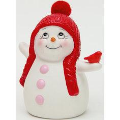 """Керамический снеговик """"Со снегирем"""" Magic Time"""