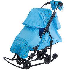 Санки-коляска ABC Academy Зимняя Сказка 3В Люкс, черная рама, голубой/зоопарк
