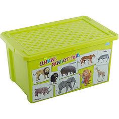 """Ящик для хранения игрушек """"X-BOX"""" """"Обучайка"""" Животные 57л, Little Angel, салатовый"""