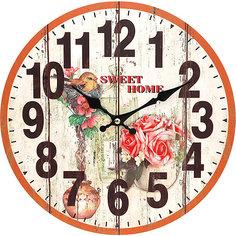 """Часы настенные """"Цветы и птичка"""", диаметр 34 см Белоснежка"""
