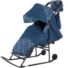 Санки-коляска ABC Academy Зимняя сказка 2В Авто, черная рама, синий/Зоопарк