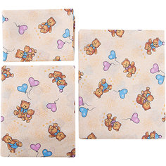 Детское постельное белье 3 предмета Letto, Коричневые мишки с шариками