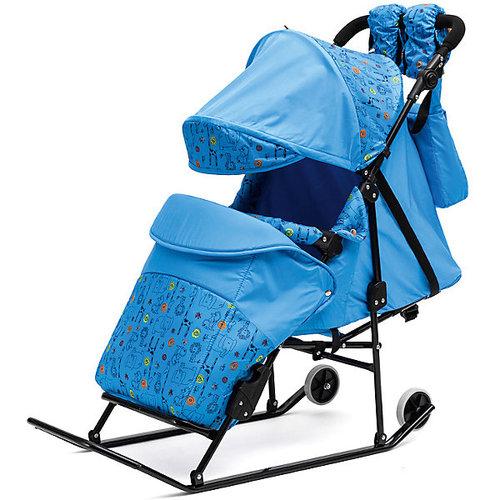 Санки-коляска ABC Academy Зимняя сказка 3В Авто, черная рама, голубой/зоопарк