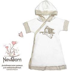 Крестильное платье с капюшоном,тесьма, р-р 68, NewBorn, белый