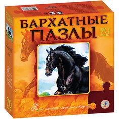 """Бархатный пазл """"Вороной конь"""", черный, Дрофа-Медиа"""