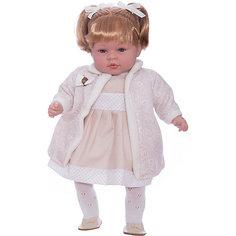 Кукла Elegance в белом платье, пальто и шапочке, 45 см, смеется, Arias