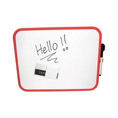 Магнитная маркерная доска с декор.рамками, цвет белый, 4 варианта цвета рамок,27,9 * 35,6 см, 1 шт+маркер-губка Alpino