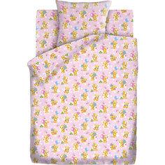 Детское постельное белье 3 предмета Кошки-мышки, Мишки-игрушки, розовый