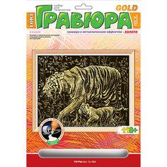 """Гравюра с эффектом золота """"Тигры"""", LORI"""