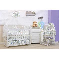 Комплект в кроватку 8 предметов, GulSara, белый с цветочным принтом