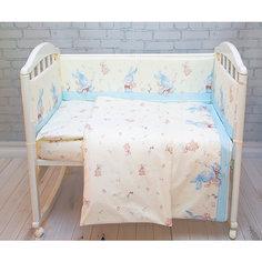 Бортик в кроватку элит, Зайка Baby Nice, голубой
