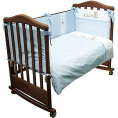 Детское постельное белье 3 предмета Сонный гномик, Паровозик, голубой