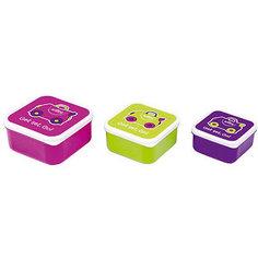 Контейнеры для еды 3 шт, розовый, фиолетовый, зеленый Trunki