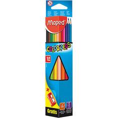 Карандаши цветные COLORPEPS, треугольные+точилка, 12 цветов, MAPED