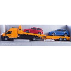 "Машинка ""Recovery Truck Long"" эвакуатор с прицепом 1:48, Autotime"