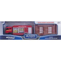 """Машинка """"Scania"""" пожарная с гаражом 1:48, Autotime"""