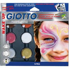 Грим-краски на восковой основе в баночках 5 цв*5 мл, белый цвет*10мл, с кистью и спонжем, фантазийные цвета. Giotto