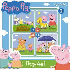 "Набор из 4-х пазлов ""На отдыхе"", 9*16*25*36 деталей, Свинка Пеппа, Origami"