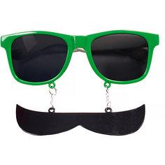 Карнавальные очки Усы зеленые из пластика Magic Time