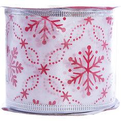Лента новогодняя Красные снежинки арт.42818 из сатина на картонной катушке Magic Time