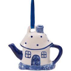 Новогоднее подвесное елочное украшение Чайный домик из керамики Magic Time