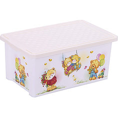 """Ящик для хранения игрушек """"X-BOX"""" Bears 12л, Little Angel, слоновая кость"""
