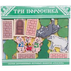 """Деревянный конструктор Томик """"Сказки. Три поросенка"""", 31 деталь"""