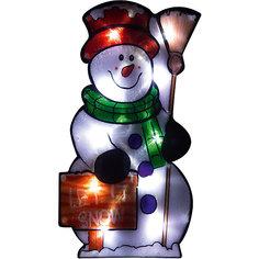 """Световое панно Magic Land """"Веселый снеговик"""" 20 ламп, 42,5х22,5 см Волшебная Страна"""