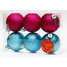 Новогоднее подвесное украшение Шары бирюзовые и розовые из полистирола. Набор из 6 шт. Magic Time
