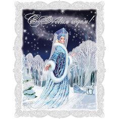 Новогоднее оконное украшение  декорировано глиттером; крепится к гладкой поверхности стекла Magic Time