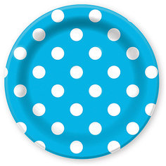 """Тарелки Патибум """"Горошек голубой"""" 23 см. ламинированные, 6 шт."""