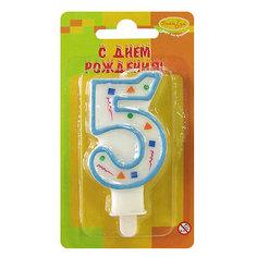 """Свеча для торта Патибум """"Цифра 5"""" 7 см., голубое конфетти"""