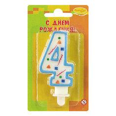 """Свеча для торта Патибум """"Цифра 4"""" 7 см., голубое конфетти"""