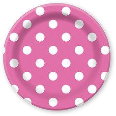"""Тарелки Патибум """"Горошек розовый"""" 23 см. ламинированные, 6 шт."""
