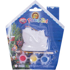 Набор для детского творчества, Санки-6x3x5.7см, 3 краски, кисточка, блистер в форме домика - 14*14 см Mag2000