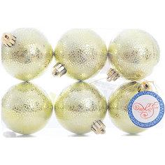 Новогоднее подвесное украшение Шар Мерцание лаймовый из полистирола. Набор из 6 шт., 76038 Magic Time