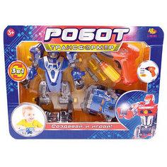 """Робот-трансформер 3 в 1 Abtoys """"Создавай и играй"""" с инструментами, синий"""