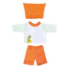 "Одежда для куклы Mary Poppins ""Дино"" кофточка брючки и шапочка, 38-43 см (бело-оранжевый)"