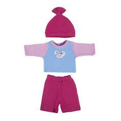 """Одежда для куклы Mary Poppins """"Зайка"""" кофточка брючки и шапочка, 38-43 см (розовый с голубым)"""