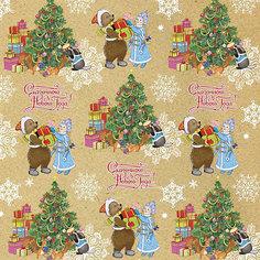 Крафт бумага Снегурочка с мишкой для сувенирной продукции в листах Magic Time