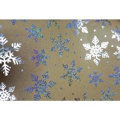 Крафт бумага Серебряные снежинки для сувенирной продукции Magic Time