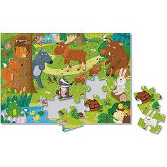 Пазл листовой на подложке. Лесные животные. 24 детали. 21х29,5 см. ГЕОДОМ