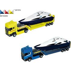 """Машинка """"Scania"""" с яхтой 1:48, Autotime"""