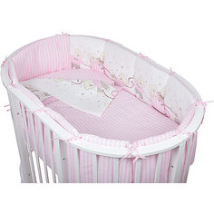 Комплект в овальную кроватку 6 предметов Pituso, Мишки, розовый